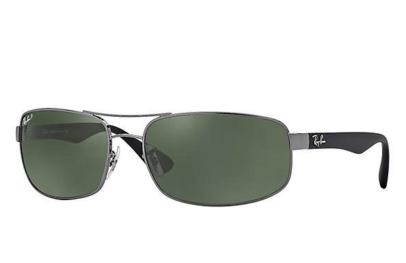 Ray-Ban  prescription sunglasses RB3445 MALE P016 rb3445 gunmetal RX_805289447535?roxLensPartNumber=Green_Classic_G 15_Polar_SV