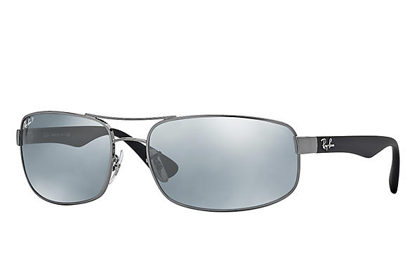 Ray-Ban  prescription sunglasses RB3445 MALE P016 rb3445 gunmetal RX_805289447535?roxLensPartNumber=Silver_Flash_Polar_SV