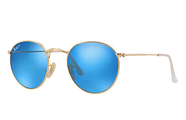 Ray-Ban  prescription sunglasses RB3447 UNISEX P001 round metal gold RX_805289439899?roxLensPartNumber=Blue_Flash_Polar_SV