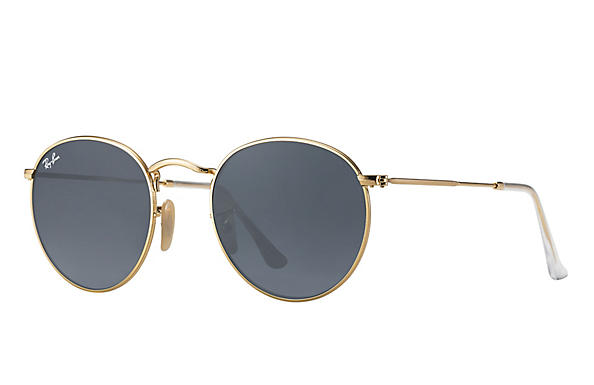 Ray-Ban  prescription sunglasses RB3447 UNISEX P001 round metal gold RX_805289439899?roxLensPartNumber=Blue_Gray_Classic_SV