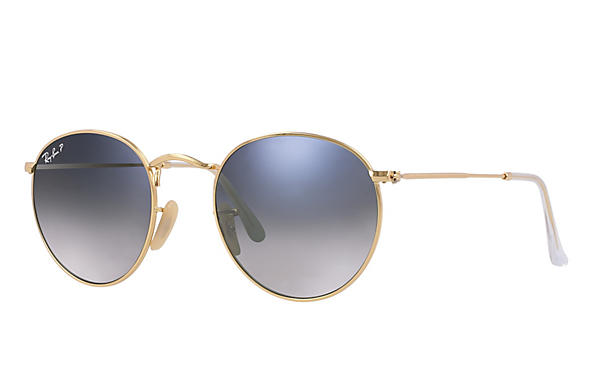 Ray-Ban  prescription sunglasses RB3447 UNISEX P001 round metal gold RX_805289439899?roxLensPartNumber=Blue_Grey_Gradient_Polar_SV