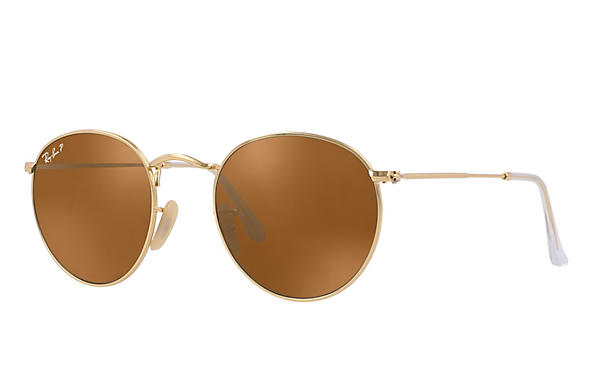 Ray-Ban  prescription sunglasses RB3447 UNISEX P001 round metal gold RX_805289439899?roxLensPartNumber=Brown_Classic_B 15_Polar_SV