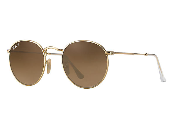 Ray-Ban  prescription sunglasses RB3447 UNISEX P001 round metal gold RX_805289439899?roxLensPartNumber=Brown_Gradient_Polar_SV