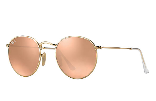 Ray-Ban  prescription sunglasses RB3447 UNISEX P001 round metal gold RX_805289439899?roxLensPartNumber=Copper_Flash_SV