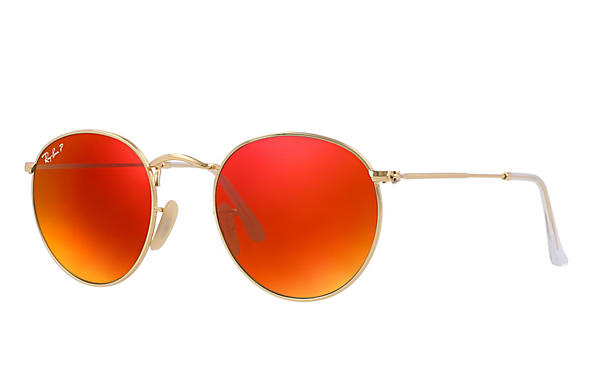 Ray-Ban  prescription sunglasses RB3447 UNISEX P001 round metal gold RX_805289439899?roxLensPartNumber=Orange_Flash_Polar_SV