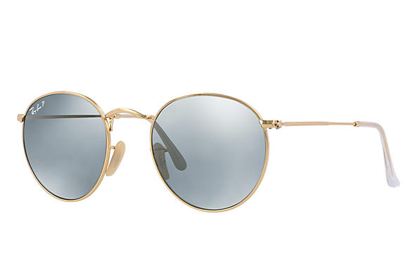 Ray-Ban  prescription sunglasses RB3447 UNISEX P001 round metal gold RX_805289439899?roxLensPartNumber=Silver_Flash_Polar_SV