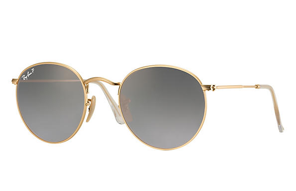 Ray-Ban 0RB3447-ROUND FLASH LENSES Matte Gold,Gold; Gold ROX_FRAME