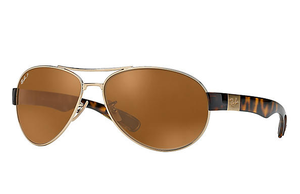 Ray-Ban  prescription sunglasses RB3509 MALE P009 rb3509 gold RX_8053672092196?roxLensPartNumber=Brown_Classic_B 15_Polar_SV