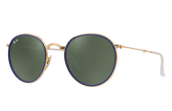 46c92be1e8 Ray-Ban Round Folding RB3517 Gold - Metal - Green Prescription ...