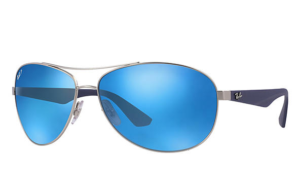 Ray-Ban  prescription sunglasses RB3526 MALE P007 rb3526 silver RX_8053672359022?roxLensPartNumber=Blue_Flash_Polar_SV