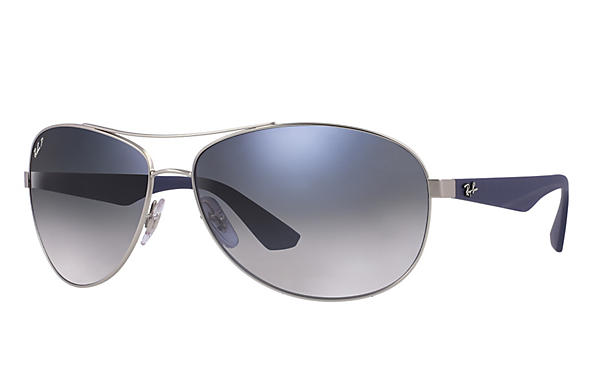 Ray-Ban  prescription sunglasses RB3526 MALE P007 rb3526 silver RX_8053672359022?roxLensPartNumber=Blue_Grey_Gradient_Polar_SV