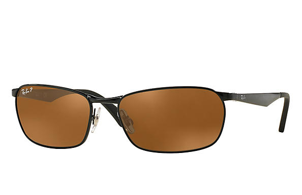 Ray-Ban  prescription sunglasses RB3534 MALE P001 rb3534 black RX_8053672497670?roxLensPartNumber=Brown_Classic_B 15_Polar_SV