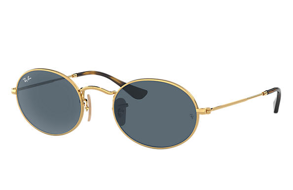 Ray-Ban  prescription sunglasses RB3547N MALE P009 oval flat lenses gold RX_8053672611519?roxLensPartNumber=Blue_Gray_Classic_SV
