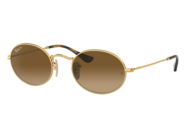 Ray-Ban  prescription sunglasses RB3547N MALE P009 oval flat lenses gold RX_8053672611519?roxLensPartNumber=Brown_Gradient_Polar_SV