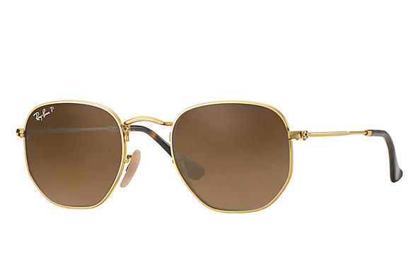 Ray-Ban  prescription sunglasses RB3548N MALE P009 hexagonal gold RX_8053672689679?roxLensPartNumber=Brown_Gradient_Polar_SV