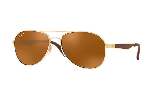 Ray-Ban  prescription sunglasses RB3549 MALE P001 rb3549 gold RX_8053672879018?roxLensPartNumber=Brown_Classic_B 15_Polar_SV