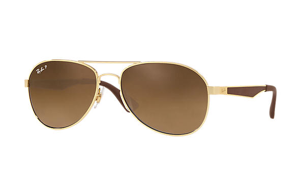 Ray-Ban  prescription sunglasses RB3549 MALE P001 rb3549 gold RX_8053672879018?roxLensPartNumber=Brown_Gradient_Polar_SV