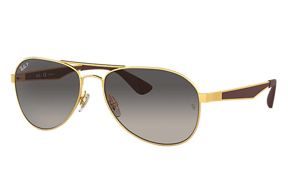 Ray-Ban  prescription sunglasses RB3549 MALE P001 rb3549 gold RX_8053672879018?roxLensPartNumber=Grey_Gradient_Polar_SV