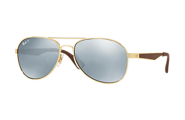 Ray-Ban  prescription sunglasses RB3549 MALE P001 rb3549 gold RX_8053672879018?roxLensPartNumber=Silver_Flash_Polar_SV