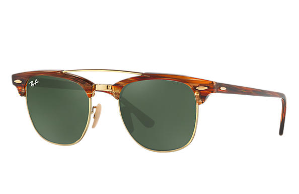 Ray-Ban 0RB3816-CLUBMASTER DOUBLE BRIDGE Light Brown ROX_FRAME