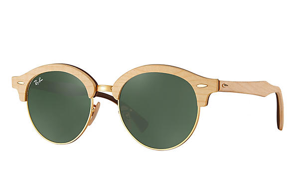 Ray-Ban 0RB4246M-CLUBROUND WOOD Brown,Gold; Brown ROX_FRAME