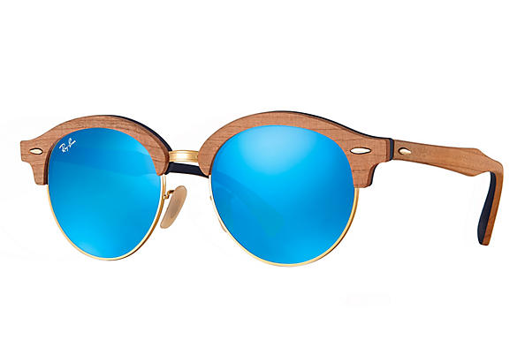 Ray-Ban 0RB4246M-CLUBROUND WOOD Braun,Gold; Braun,Blau ROX_FRAME