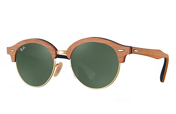 Ray-Ban 0RB4246M-CLUBROUND WOOD Brown,Gold; Brown,Blue ROX_FRAME