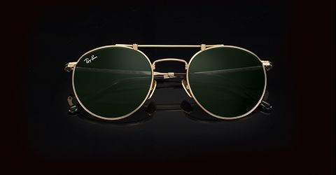 cb8cb1ba48 Ray-Ban ROUND TITANIUM White Gold with Green Classic lens
